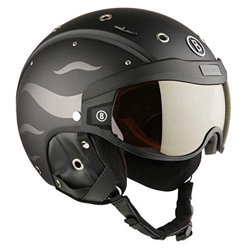 Bogner Ski-Helm B-Visor Flames | Black Matt | Visierhelm Ski & Snowboard | Hochwertige Qualität | Visier (Größe: M - Kopfumfang 54-58cm)