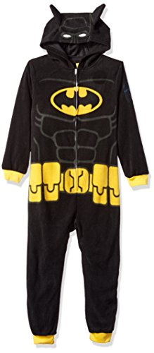 LEGO Batman Big Boys' Costume, Onesie Pajamas, All-in-One Set, Black, 8