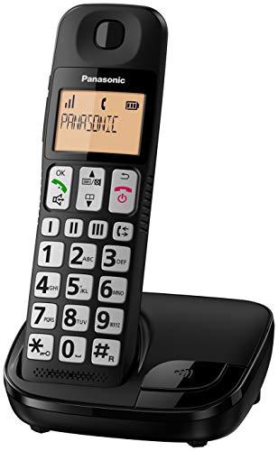 Panasonic KX-TGE110E Big Button Single DECT Cordless Telephone with Nuisance Call Blocker & LCD Display (Single Handset Pack) - Black