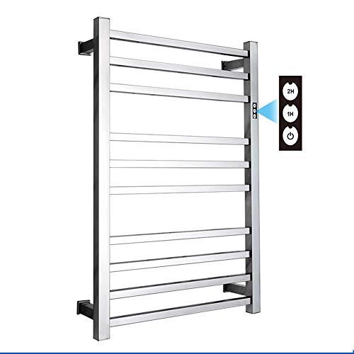 AMYZ Toallero eléctrico con calefacción |Soporte de Pared para Calentador de Toallas |Temporizador Incorporado con Indicadores LED |3 Modos de Temporizador |10 Bares |Acero Inoxidable 304 -