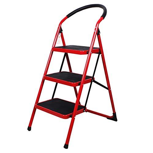 WHOJA Escalerilla 3 Pasos Pedal Ancho Antideslizante Pesada Escalera Plegable con reposabrazos de Goma Puede soportar 150 kg Escalera doméstica de Acero Ligera y Resistente (Color : Red)