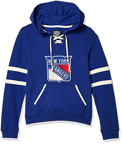 OTS NHL New York Rangers Women's Grant Lace Up Pullover Hoodie, Logo, Large