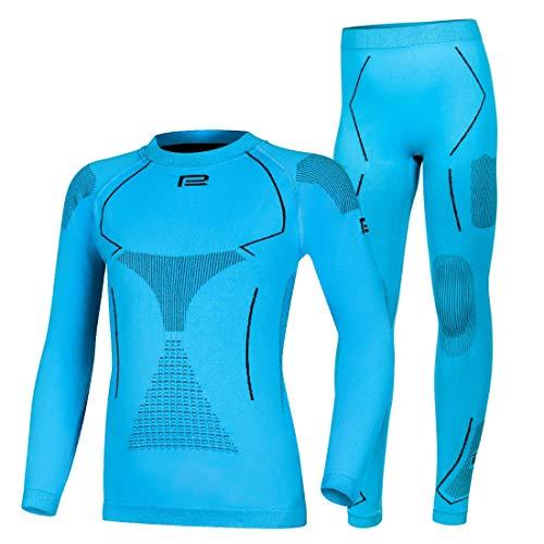 Prosske Kinder Seamless Funktionsunterwäsche Thermo Xtreme 2.0 Set Thermounterwäsche Skiunterwäsche Atmungsaktiv Jungen Mädchen (blau-schwarz, 140-158 cm)
