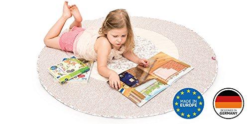 Spielmatte / Spielteppich für Baby & Kinder - Rund, Groß & Weich gepolstert - Ideal fürs Kinderzimmer - Schadstofffreie Kindermatte und Krabbeldecke für Mädchen & Junge (Blumengarten)