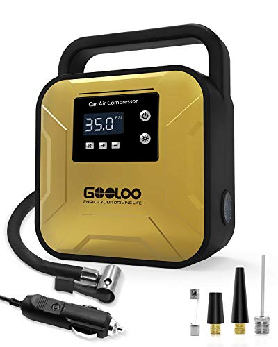 GOOLOO Tire Inflator Air Compressor Portable Tire Pump with LED Light Handle and Digital Pressure Gauge DC12V for Car SUV Bicycle Motorcycles Balls