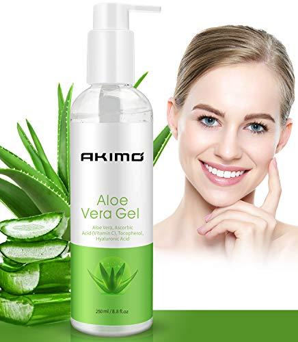 AKIMO Bio Aloe Vera Gel mit Hyaluronsäure, Pure Aloe Vera Beruhigendes Gel 100% natürlich für Gesicht, Körper, Haar, Gesichtsfeuchtigkeitscreme, After Sun Körperfeuchtigkeitscremes, 250 ML