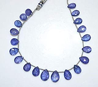 Gems-World Jewelry 1 Strand Tanzanite Pear Shape Beads - Tanzanite Faceted Briolette, Tanzanite Briolette, 10.5x8-13.5x10 mm, 8.5