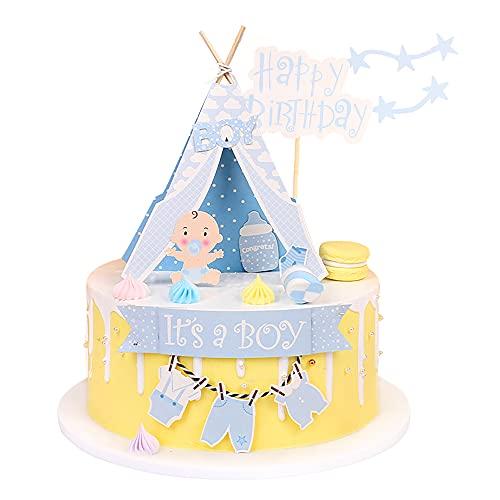 3 piezas de decoración para tartas de bebé, para niños y jóvenes, juego de decoración para tartas de bautizo, decoración de cumpleaños para niñas, bebés, accesorios para fiestas de cumpleaños