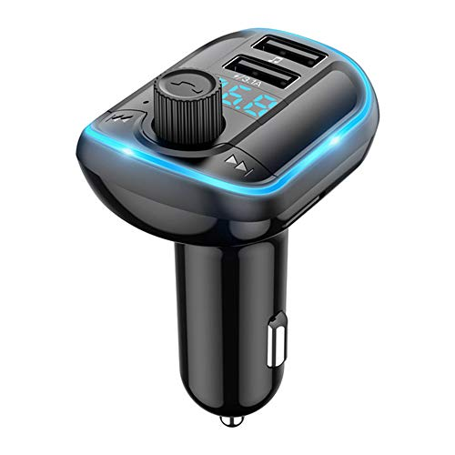 Transmetteur FM Bluetooth V5.0 Bluetooth Lecteur MP3 Voiture Main Libre Chargeur Rapide 3.1A Allume Cigare Kit Émetteur FM avec 2 USB Ports Appel Main Libre Support Carte SD Clé USB Disque U (Bleu)