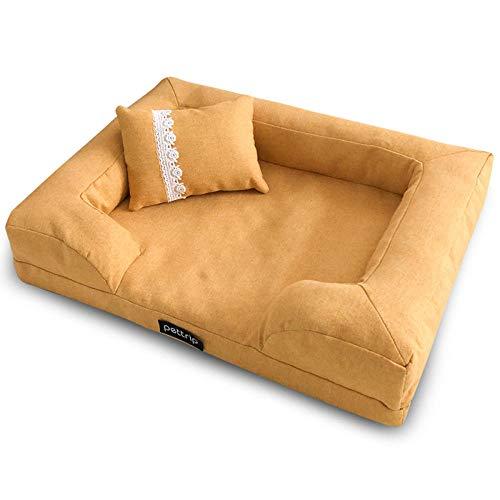 Cama para Perros de Felpa Suave y cálida Cama para Perros Cama para Dormir mullida sofá para Mascotas Perros pequeños y medianos de Varios tamaños -Amarillo_M-65 * 50 CM