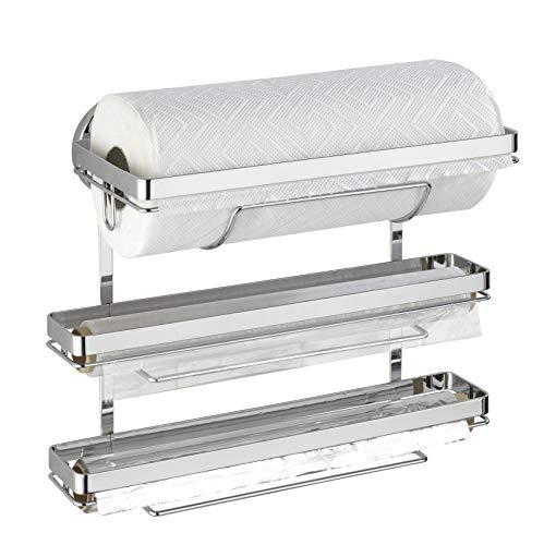 WENKO Magic-Loc portarrollos de cocina Trio - fijar sin taladrar, Metal cromado, 33 x 32 x 16 cm, Cromo brillante