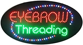 LED Eyebrow Threading Open Light Sign Super Bright Electric Advertising Display Board for Eyelash Extension Waxing Business Shop Store Window Bedroom (HSE0192)