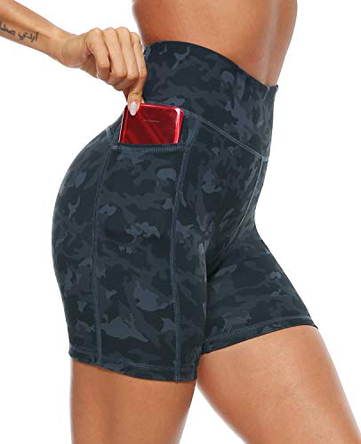 AFITNE Yoga Shorts for Women with Pockets High Waisted Printed Workout Athletic Running Shorts Biker Spandex Gym Fitness Tights Leggings Black Camo - L