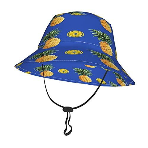 GAHAHA Gorro de bebé para niñas y niños, piñas y limones, color azul, con correa ajustable para la barbilla, para todas las estaciones, gorra de playa al aire libre, gorra de pescador