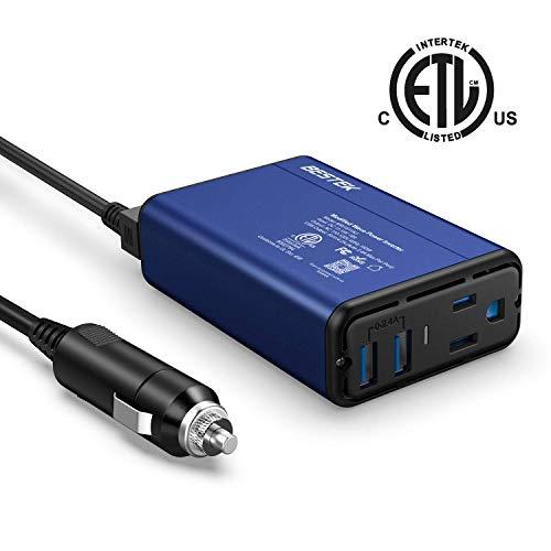 BESTEK 150W Power Inverter DC 12V to 110V AC Converter 4.2A Dual USB Car Adapter (Blue)…