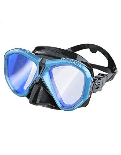 SEAC Italia Máscara Buceo Profesional, recreativo y Snorkel, Unisex-Adult, Negro/Azul LS, estándar