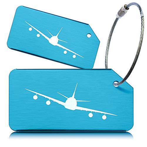 OCTiLUX Luggage Tags for Travel Suitcase Aluminium Aero Design 2 Pack Blue
