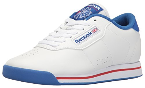 Reebok Women's Princess Fitness-W, White/Tetra Blue/Excellent Red, 8 M US