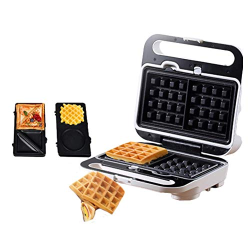 Sandwich Maker, 3-in-1 Waffle Maker Breakfast Maker, Double-Sided Stereo Heating, with 3 Replaceable Baking Trays, Non-Stick Coating, Easy to Clean DOISLL