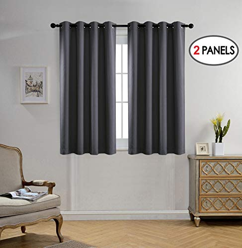 MIUCO Blackout Curtains Room Darkening Textured Grommet Window Curtains for Living Room 2 Panels 52x63 Inch Dark Grey