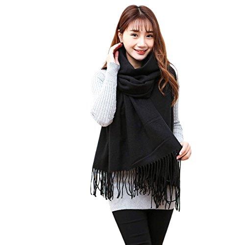 Butterme Solid Color Mode lange Schal Damen Winter Warmer Kaschmir Spüren Große Schal, Schwarz, One Size