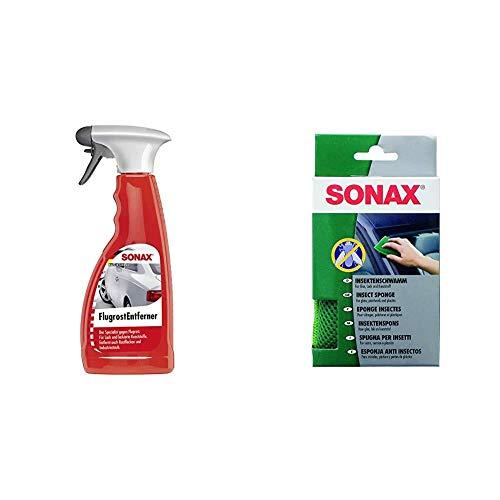 SONAX FlugrostEntferner (500 ml) entfernt Aggressive Flugrost-Rückstände sowie Industriestaub & InsektenSchwamm (1 Stück) zur Entfernung von Insekten und Anderen hart anhaftenden Verschmutzungen