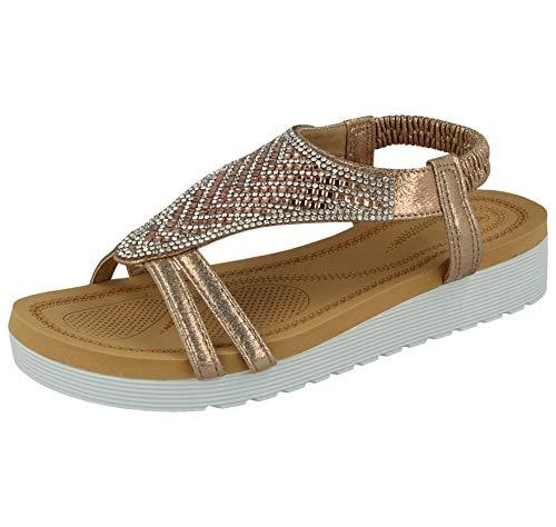 Yinka Shoes - Sandali estivi da donna, in finta pelle metallizzata, con gemma azteca, punta aperta, con elastico sulla schiena, alla moda, taglie 3-8, Oro (Oro rosa), 40 2/3 EU