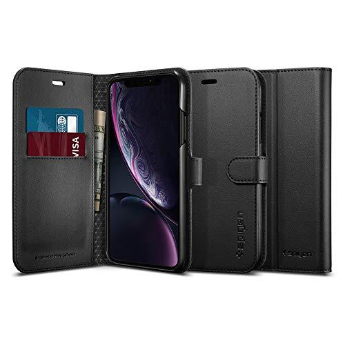 Spigen Wallet S Compatibel met iPhone XR hoesje, lederen tas Geïntegreerde stand-up functie en portemonnee Kaartvak Gsm-tas cover case Black