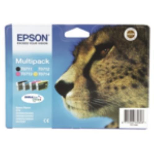 Multipack Epson T0715 - cartucho de impresión - 1 x negro, amarillo, cian, magenta - blíster - para Stylus DX9400, SX115, SX210, SX215, SX218, SX415, SX515, SX610; Stylus Office BX310, BX610