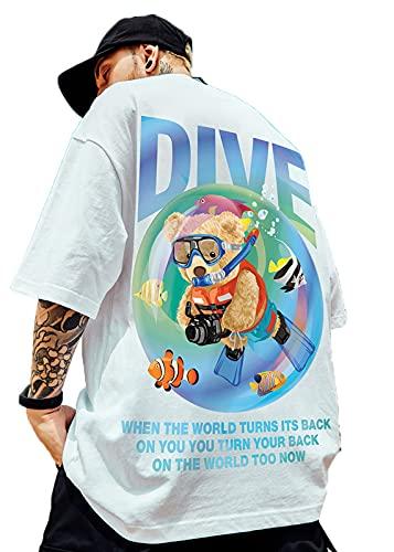 Camiseta Unisex de Gran tamaño con gráfico de Media Manga con Espalda de Oso de Buceo M-5XL