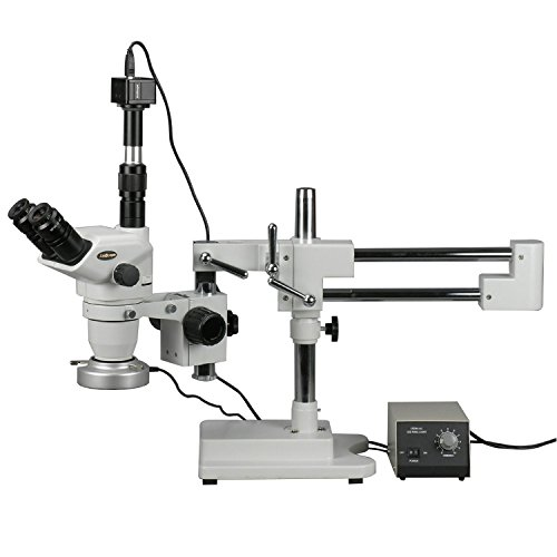 AmScope ZM-4TNZ3-80M-5M Digital Professional Trinocular Stereo Zoom Microscope, EW10x Focusing Eyepieces, 2X-90X Magnification, 0.67X-4.5X Zoom Objective, 80-Bulb LED Ring Light with Rheostat, Double-Arm Boom Stand, 110V-240V, Includes 0.3x and 2.0x Barlow Lenses, 5MP Camera with Reduction Lens and Software