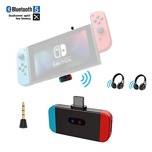 Friencity Bluetooth Audio Transmitter Adapter for Nintendo Switch, USB Type C Connector Aptx Low Latency, Support in-Game Voice& Dual Link, Compatible with Airpod, Bose, PS4, Sony Headphone, Plug&Play