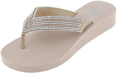 Capelli New York Ladies Fashion Flip Flops with Rhinestone Trim Natural Combo 7