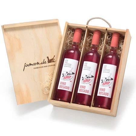 Geschenk für Weinliebhaber | Weingeschenk ROSADO | 3 Flaschen Roséwein aus Spanien | Verpackt in Weinkiste aus Holz | Vino Rosado D.O. Utiel-Requena 100{60dd81c5b93f05ed938abe8083872497f0ecc9cae44fd4c6ab1b2de0d69a0ff7} Bobal | Satte Frucht und leuchtende Farbe