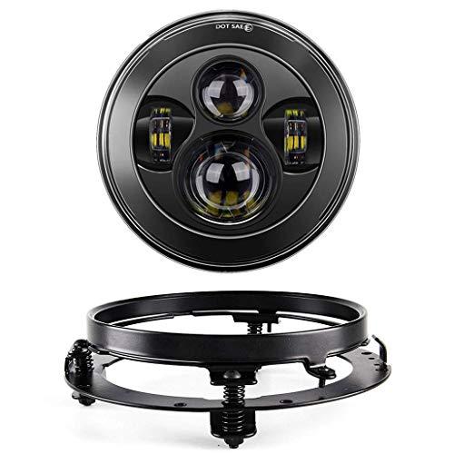 SKUNTUGUANG 7 Zoll LED Scheinwerfer mit Halterungsring für Harley Davison Road King, Road Glide, Street Glide und Electra Glide Motorradscheinwerfer (schwarz)