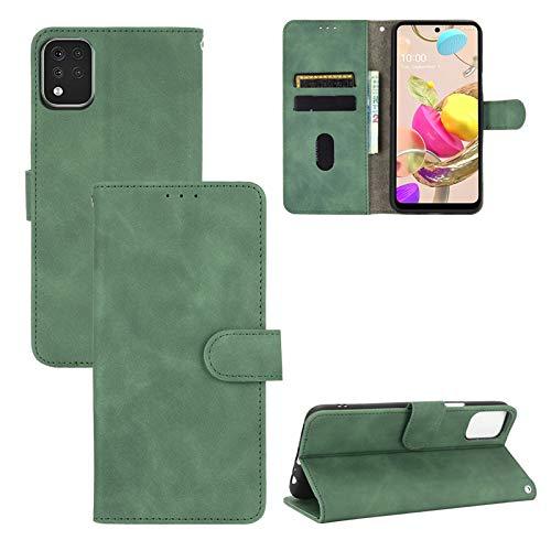 TOPOFU LG K42 Hülle,Retro Flip Lederhülle Wallet Schutzhülle mit Kartensteckplätze,Magnetverschluss,Ständer Handyhülle für LG K42-Grün
