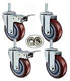 DWhui 4X Caster 2.5'/ 3' / 4'/ 5' Rollers roscados M12 Ruedas giratorias, Ruedas pequeñas Ruedas Carreras silenciosas con Frenos Muebles Trolleys Transporte Industrial Ruedas