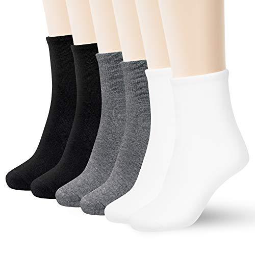 MathCat Women's 6-Pack Lightweight Breathable Ankle Socks Comfortable Mid-calf Crew Socks