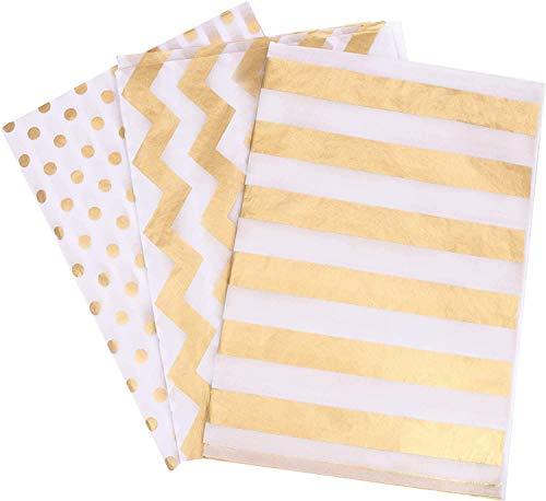 XAVSWRDE 60 Blatt Seidenpapier Metallic, Geschenkpapier Gold Geschenkverpackung für Geschenk Geburtstag Hochzeit Weihnachten Taufe Verpackung