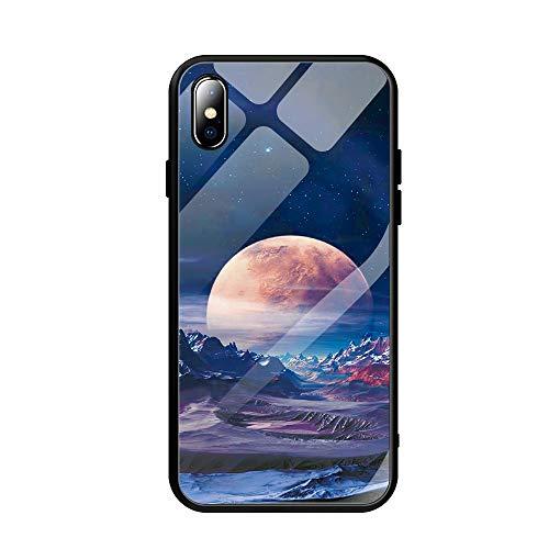 Alsoar Coque Compatible avec iPhone Se 2020/iPhone 7/iPhone 8 Mode 3D Motif Marbre Housse Arrière en 9H Verre Trempé Rigide Protection Silicone Bord TPU Souple Bumper Anti Rayures Etui (Planète)