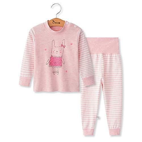 Chickwing Kinder Zweiteiliger Schlafanzug, Mädchen Jungen Unisex Langarm Hohe Taille Pyjama Pjs 100% Baumwolle 6 Monate-5 Jahre Höhe Größe 73 80 90 100 110 (3-4 Jahre Alt, Rosa Hasenstreifen)