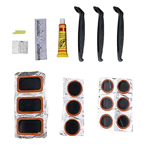 DSFSAEG Kit de reparación de parches para neumáticos de bicicleta con escofina de goma suave duradera para ciclismo al aire libre (tamaño: 13,5 x 6,5 x 1,7 cm)