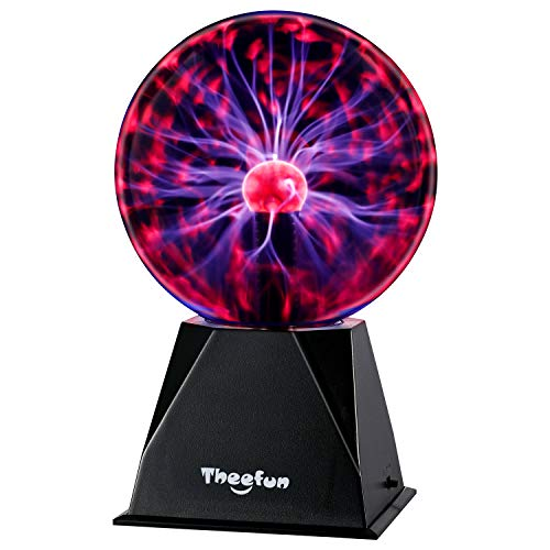 Plasma Ball, 6 Inch Plasma Lamp, Touch & Sound Sensitive Plasma Globe - Theefun Plug-in Electric Ball Nebula Thunder Lightning Novelty Toys for Kids, Parties, Home, Decoration, Prop, Christmas Gifts