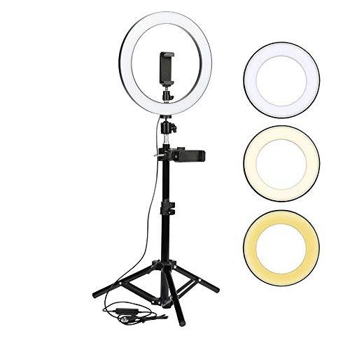 mo store Anillo de luz, 10 Pulgadas luz con Soporte Ajustable y Soporte Giratorio para teléfono para…