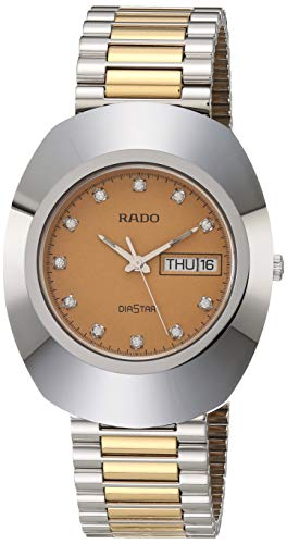 Rado DiaStar Original Quartz Watch with Stainless Steel Strap, Gold, 21 (Model: R12391633)