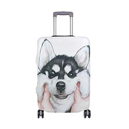 IUBBKI Travel Luggage Cover Cute Husky Dog Suitcase Protector Fits M Washable Baggage Covers