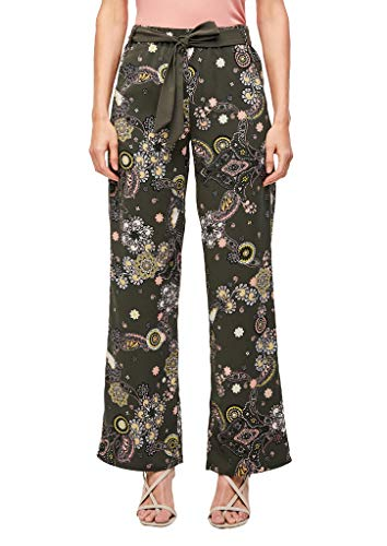 s.Oliver BLACK LABEL Damen 150.12.006.18.180.2038963 Hose, Khaki Ornamental Print, 44 REG