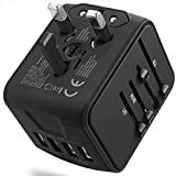 International Travel Adapter Universal Power Adapter Worldwide All in One 4 USB with Electrical Plug Perfect for European US, EU, UK, AU 160 Countries (Black)