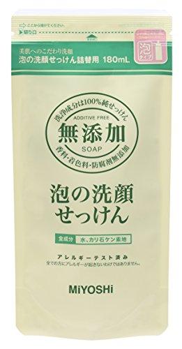 Miyoshi Soap | Face Wash | Bubble Face Cleaner Refill 180ml (Additive Free) by MIYOSHIMUTENNKASEKKENN