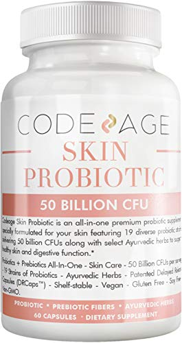 Codeage Skin Probiotic, Prebiotic + Probiotic Clear Skin Supplement, Ayurvedic Botanical Herbs, 50 Billion CFU, Shelf Stable, Non-GMO, Vegetarian, Gluten Free, Soy Free, Dairy Free, 30 Day Supply